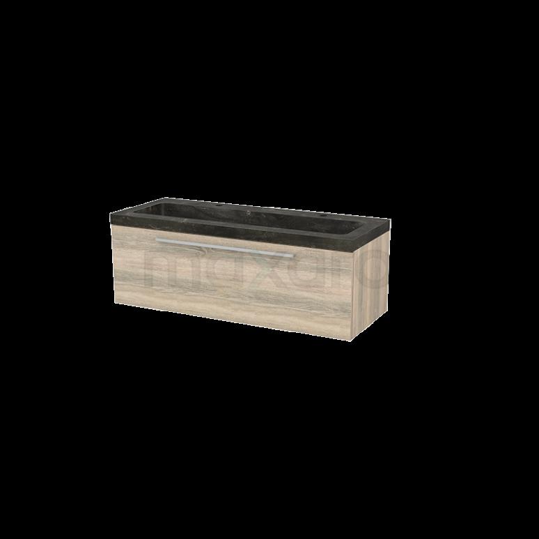 Badkamermeubel 120cm Modulo+ Eiken 1 Lade Vlak Wastafel Natuursteen Blue Stone