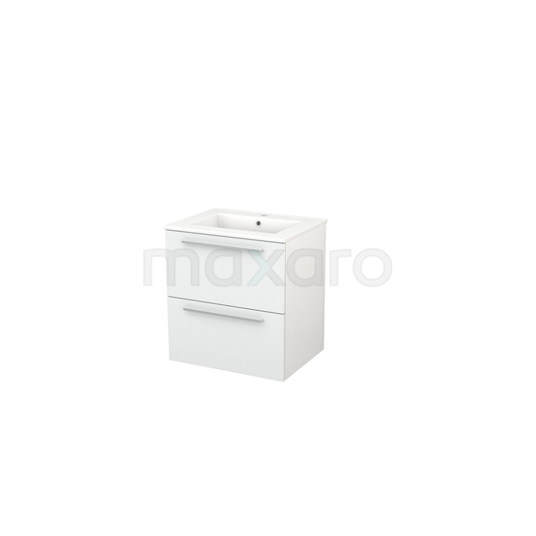 Badkamermeubel 60cm Modulo+ Hoogglans Wit 2 Lades Vlak Wastafel Keramiek