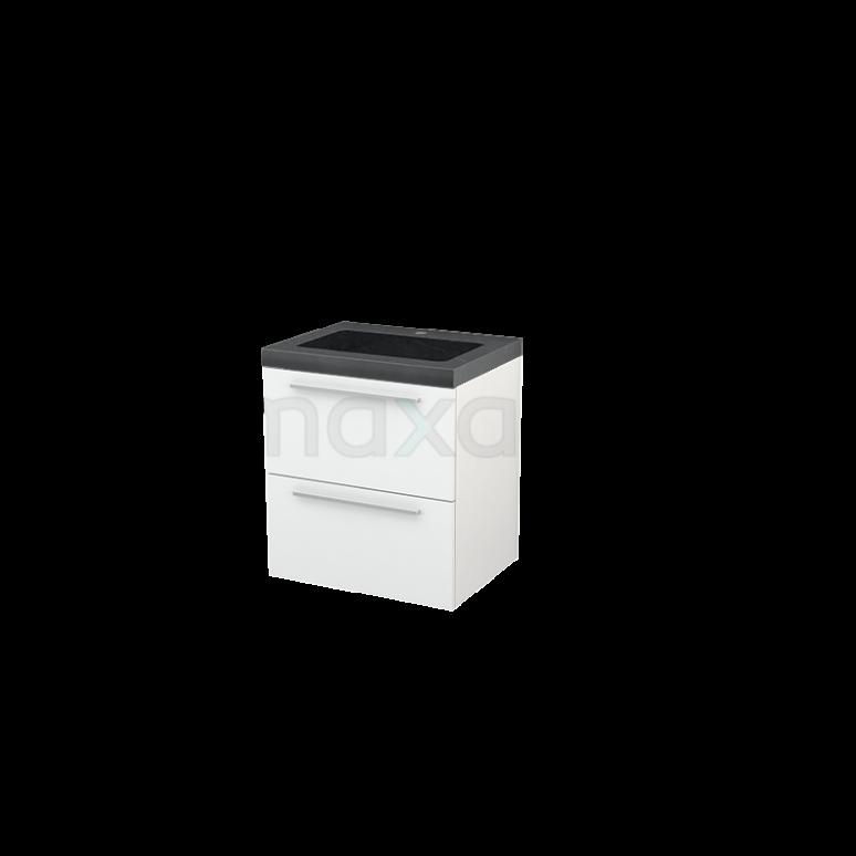 Badkamermeubel 60cm Modulo+ Hoogglans Wit 2 Lades Vlak Wastafel Natuursteen Graniet