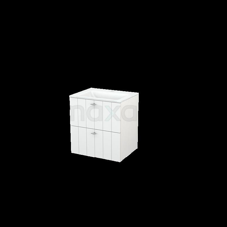 Badkamermeubel 60cm Modulo+ Hoogglans Wit 2 Lades Lamel Wastafel Glas
