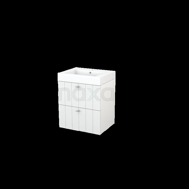 Badkamermeubel 60cm Modulo+ Hoogglans Wit 2 Lades Lamel Wastafel Mineraalmarmer