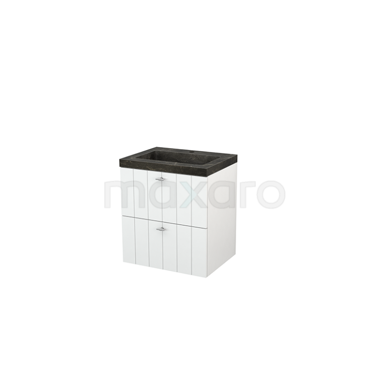 Badkamermeubel 60cm Modulo+ Hoogglans Wit 2 Lades Lamel Wastafel Natuursteen Blue Stone