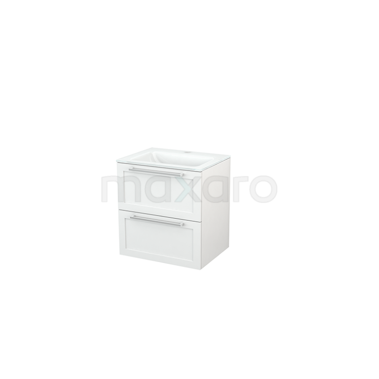 Badkamermeubel 60cm Modulo+ Hoogglans Wit 2 Lades Kader Wastafel Glas