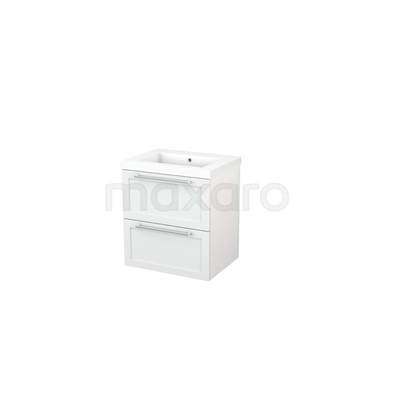Badkamermeubel 60cm Modulo+ Hoogglans Wit 2 Lades Kader Wastafel Mineraalmarmer