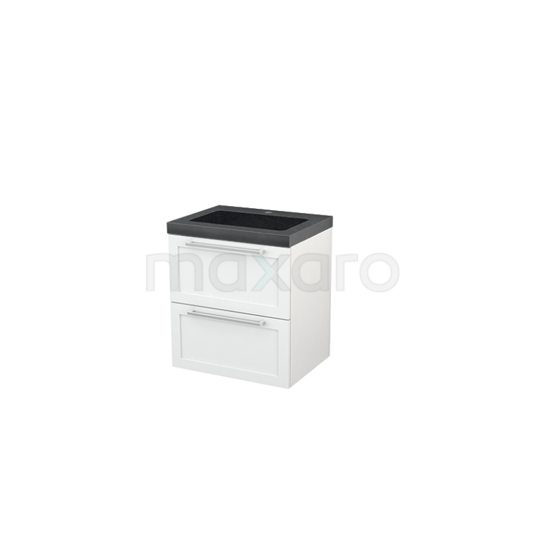 Maxaro Modulo+ BMP002323 Badkamermeubel 60cm Modulo+ Hoogglans Wit 2 Lades Kader Natuursteen Graniet Zwart