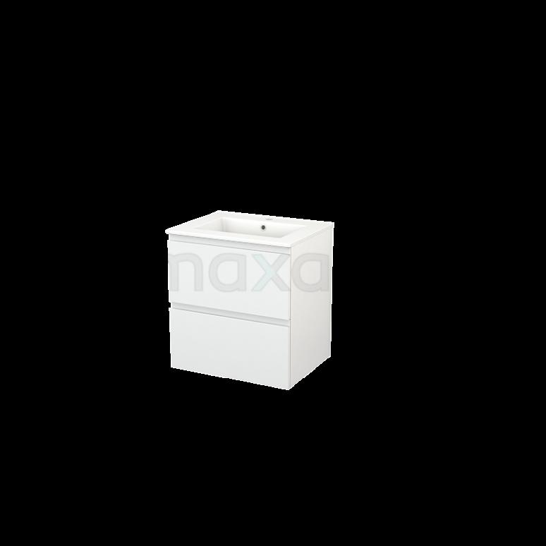 Badkamermeubel 60cm Modulo+ Hoogglans Wit 2 Lades Greeploos Wastafel Keramiek