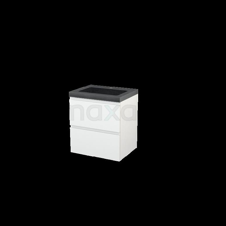 Badkamermeubel 60cm Modulo+ Hoogglans Wit 2 Lades Greeploos Wastafel Natuursteen Graniet