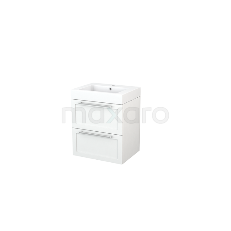 Badkamermeubel 60cm Modulo+ Mat Wit 2 Lades Kader Wastafel Mineraalmarmer