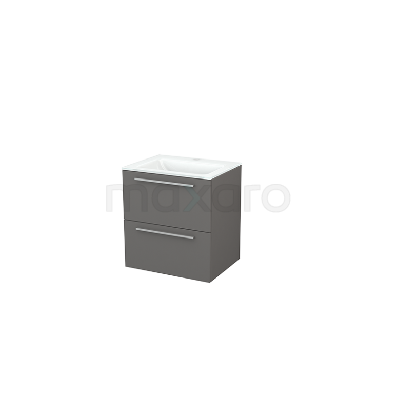 Badkamermeubel 60cm Modulo+ Basalt 2 Lades Vlak Wastafel Glas