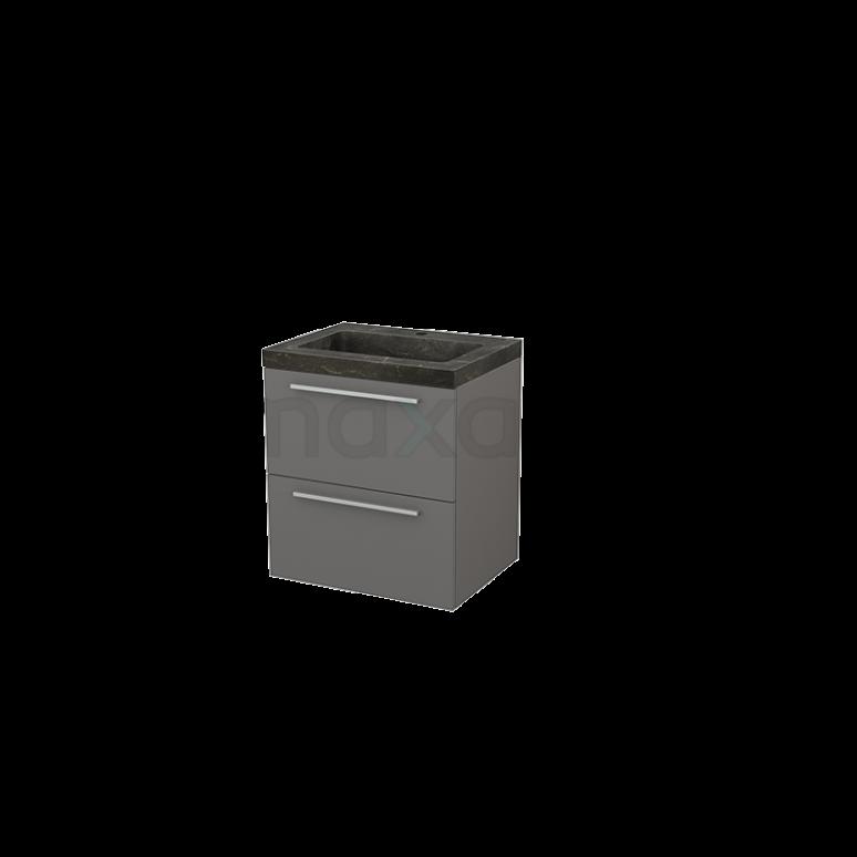 Maxaro Modulo+ BMP002378 Badkamermeubel 60cm Modulo+ Basalt 2 Lades Vlak Wastafel Natuursteen Blue Stone