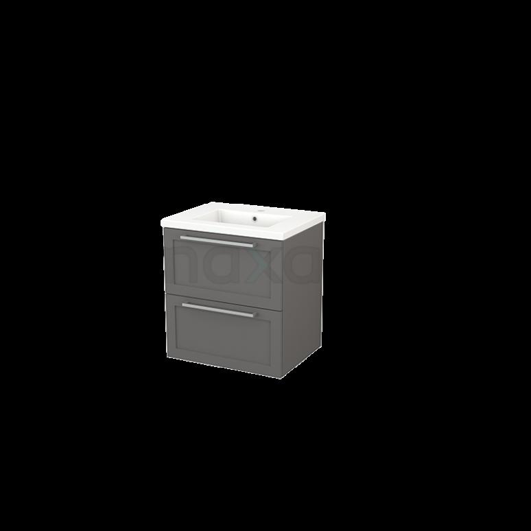 Badkamermeubel 60cm Modulo+ Basalt 2 Lades Kader Wastafel Keramiek