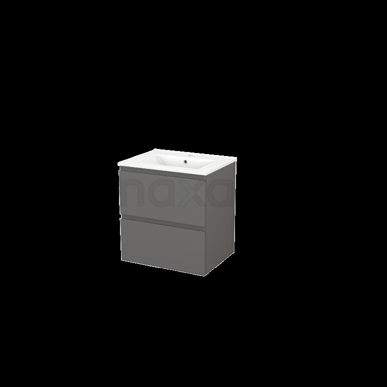 Badkamermeubel 60cm Modulo+ Basalt 2 Lades Greeploos Wastafel Keramiek