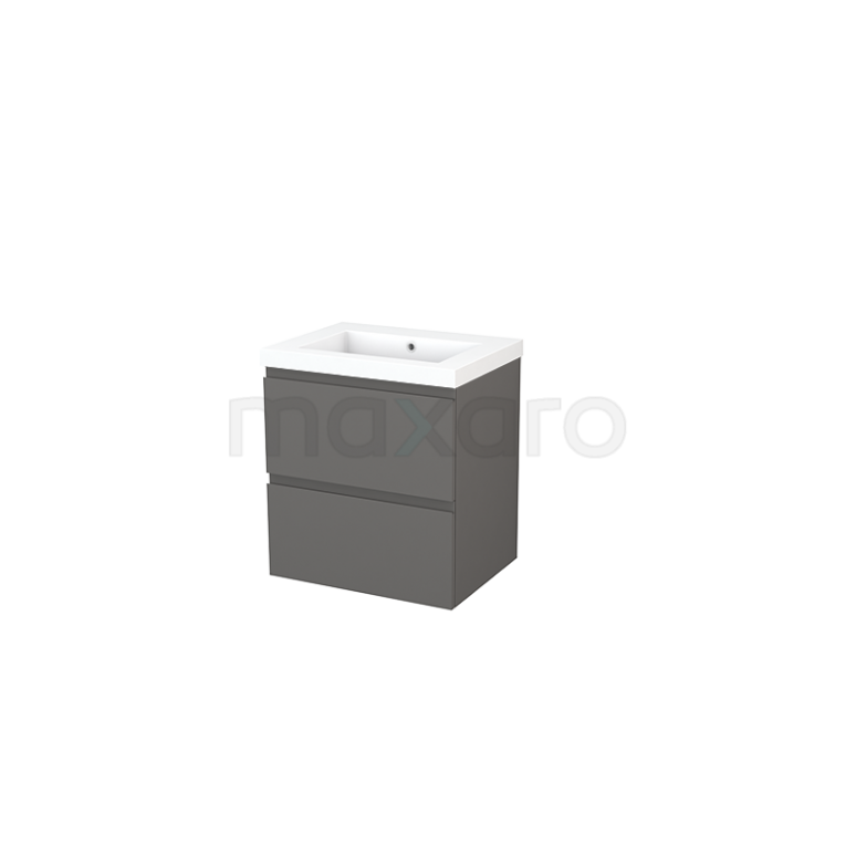 Badkamermeubel 60cm Modulo+ Basalt 2 Lades Greeploos Wastafel Mineraalmarmer