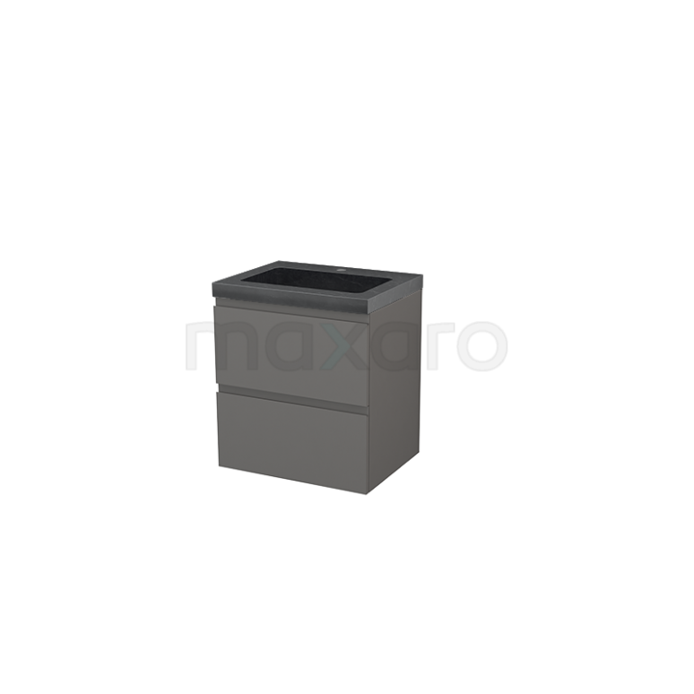 Badkamermeubel 60cm Modulo+ Basalt 2 Lades Greeploos Wastafel Natuursteen Graniet