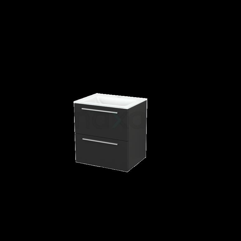 Badkamermeubel 60cm Modulo+ Carbon 2 Lades Vlak Wastafel Glas