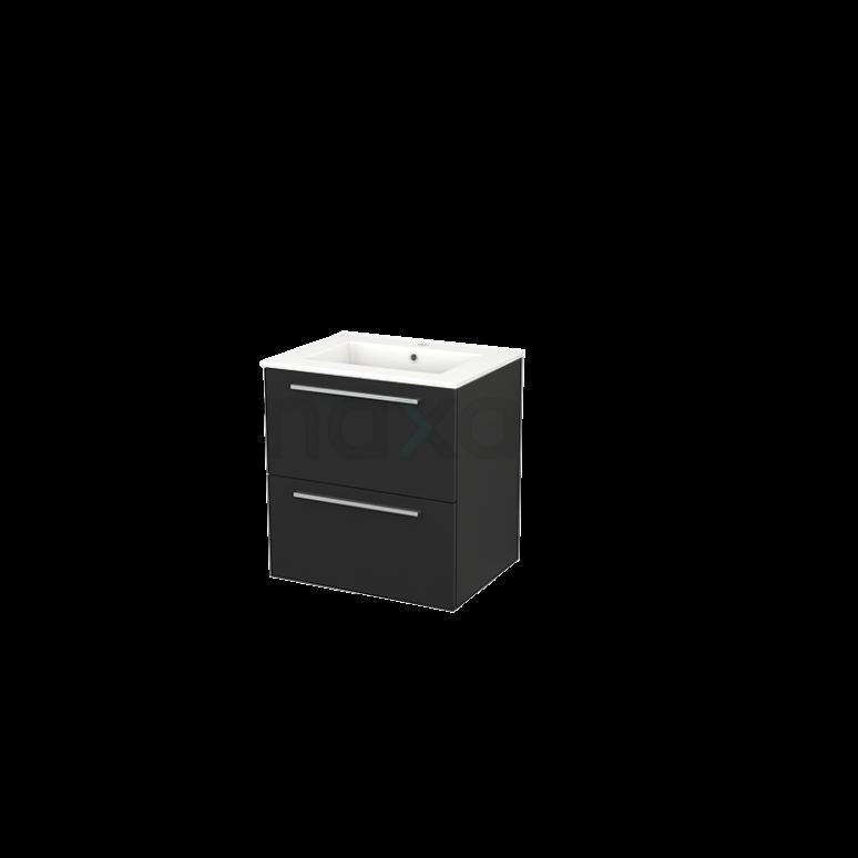 Maxaro Modulo+ BMP002407 Badkamermeubel 60cm Modulo+ Carbon 2 Lades Vlak Wastafel Keramiek