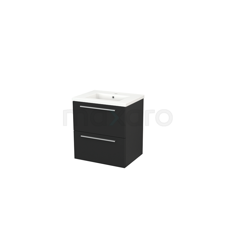 Badkamermeubel 60cm Modulo+ Carbon 2 Lades Vlak Wastafel Keramiek