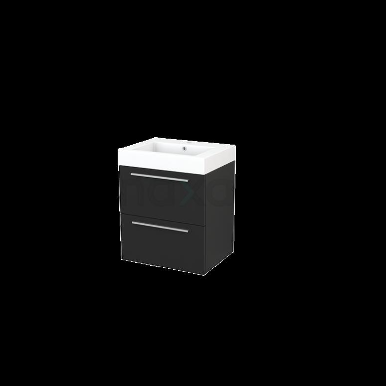 Maxaro Modulo+ BMP002412 Badkamermeubel 60cm Modulo+ Carbon 2 Lades Vlak Wastafel Mineraalmarmer