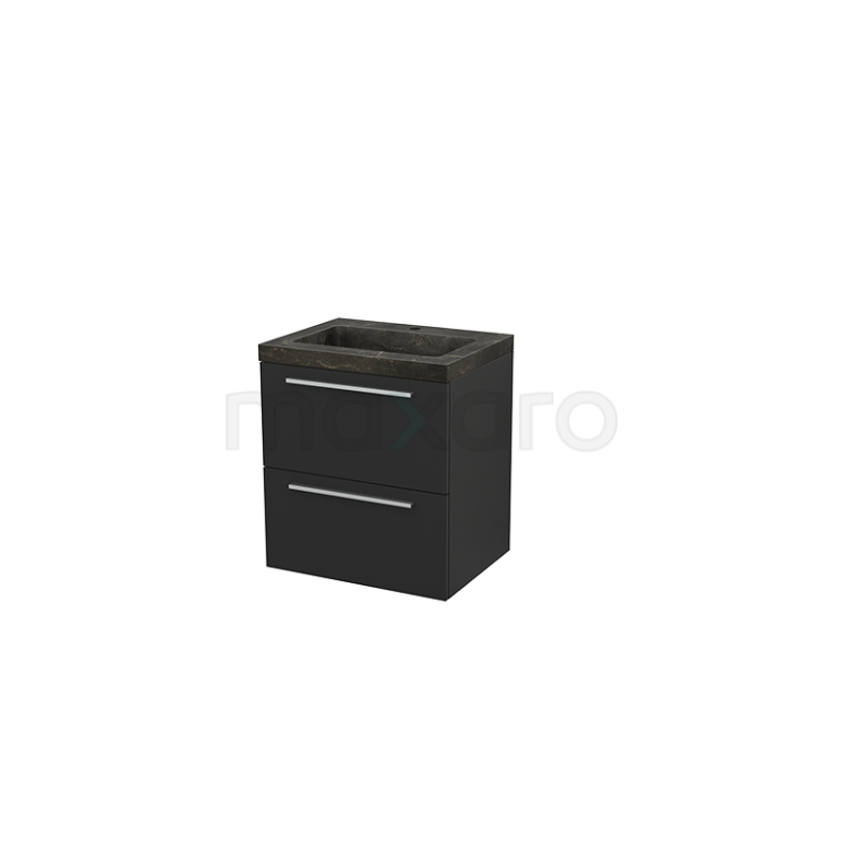 Badkamermeubel 60cm Modulo+ Carbon 2 Lades Vlak Wastafel Natuursteen Blue Stone