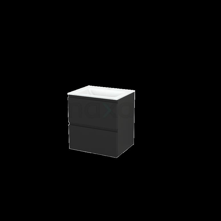 Badkamermeubel 60cm Modulo+ Carbon 2 Lades Greeploos Wastafel Glas