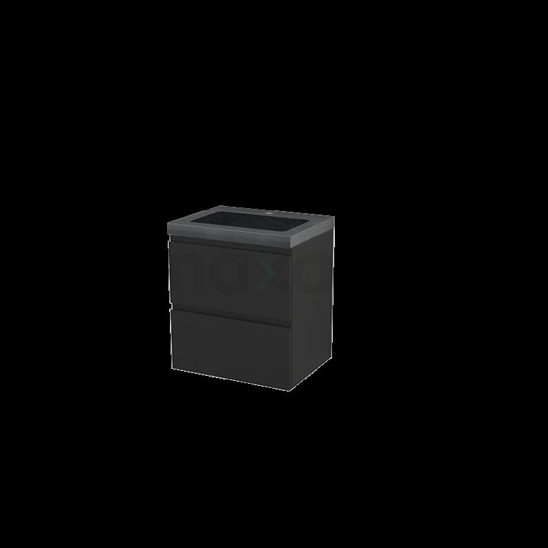 Badkamermeubel 60cm Modulo+ Carbon 2 Lades Greeploos Wastafel Natuursteen Graniet