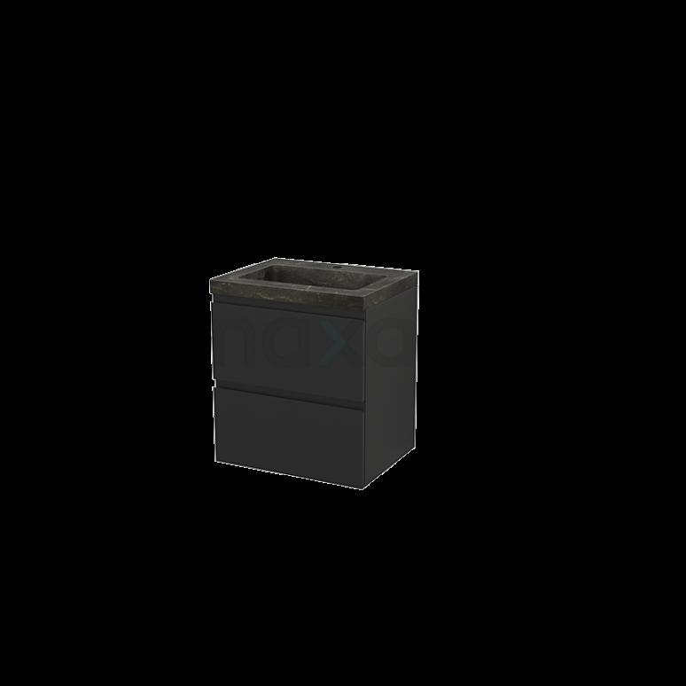 Badkamermeubel 60cm Modulo+ Carbon 2 Lades Greeploos Wastafel Natuursteen Blue Stone