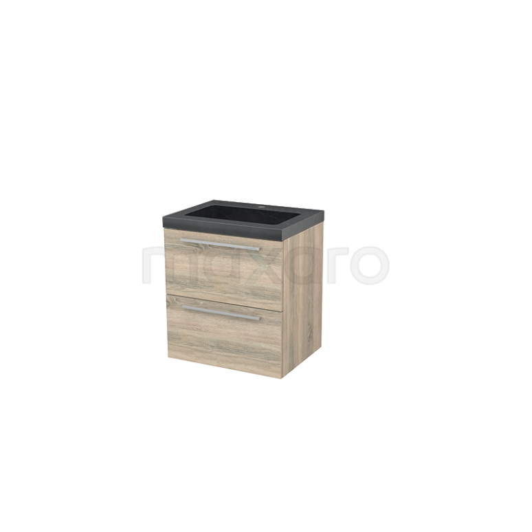 Badkamermeubel 60cm Modulo+ Eiken 2 Lades Vlak Wastafel Natuursteen Graniet
