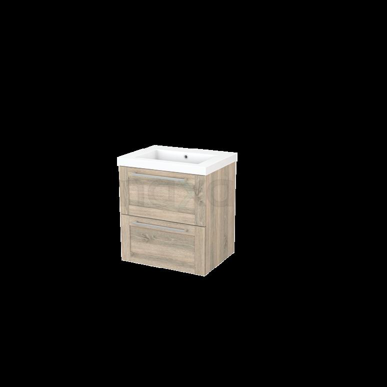 Badkamermeubel 60cm Modulo+ Eiken 2 Lades Kader Wastafel Mineraalmarmer