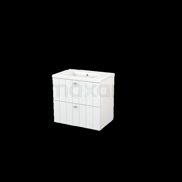 Badkamermeubel 70cm Modulo+ Hoogglans Wit 2 Lades Lamel Wastafel Keramiek