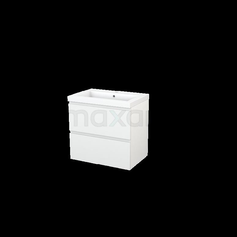 Badkamermeubel 70cm Modulo+ Hoogglans Wit 2 Lades Greeploos Wastafel Mineraalmarmer