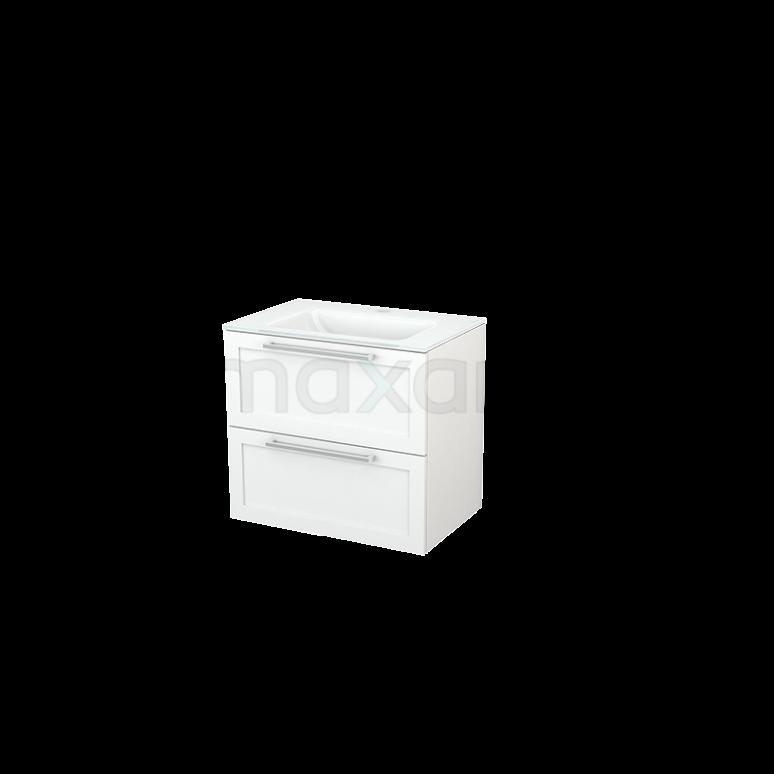Badkamermeubel 70cm Modulo+ Mat Wit 2 Lades Kader Wastafel Glas
