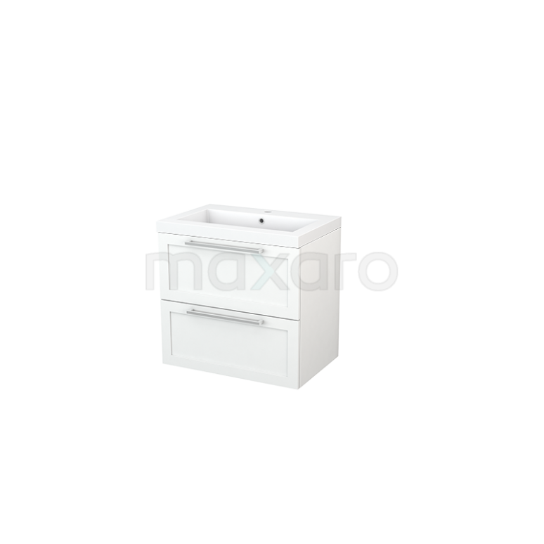 Badkamermeubel 70cm Modulo+ Mat Wit 2 Lades Kader Wastafel Mineraalmarmer