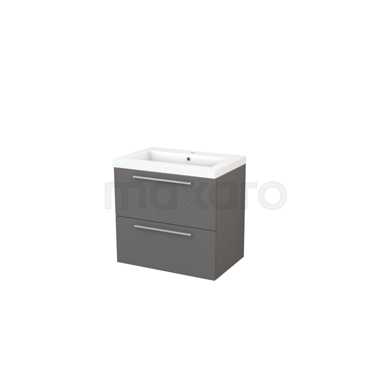 Badkamermeubel 70cm Modulo+ Basalt 2 Lades Vlak Wastafel Mineraalmarmer
