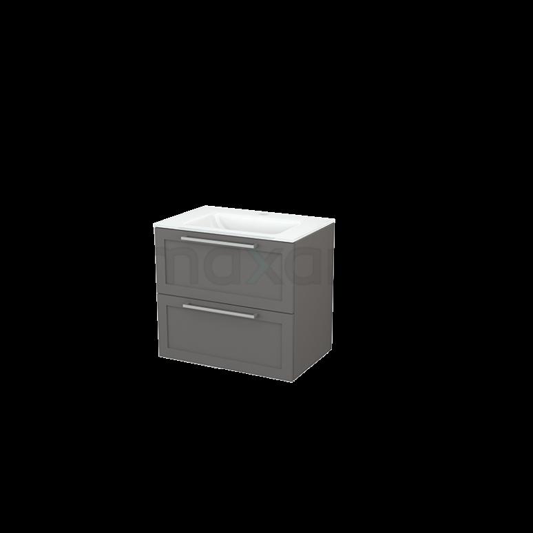 Badkamermeubel 70cm Modulo+ Basalt 2 Lades Kader Wastafel Glas