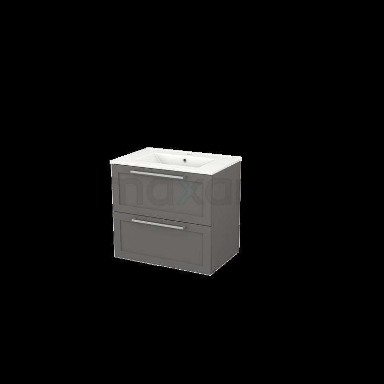 Badkamermeubel 70cm Modulo+ Basalt 2 Lades Kader Wastafel Keramiek