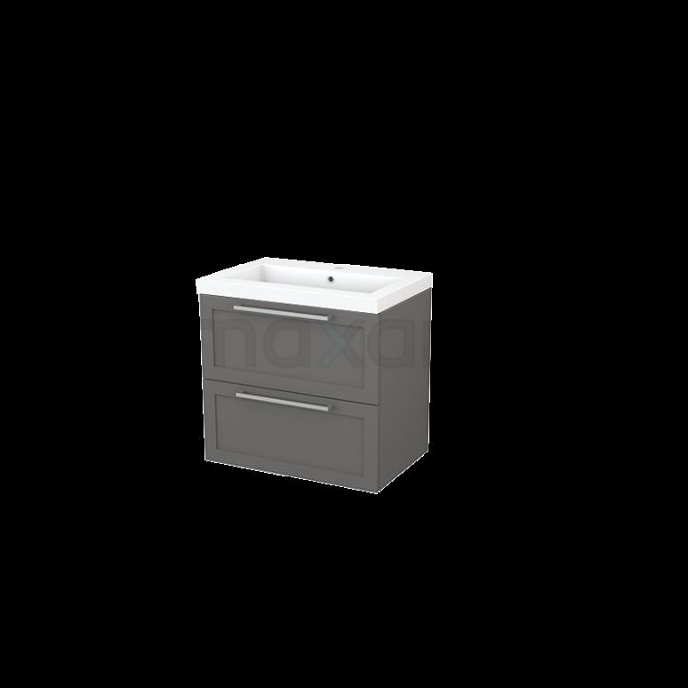 Badkamermeubel 70cm Modulo+ Basalt 2 Lades Kader Wastafel Mineraalmarmer