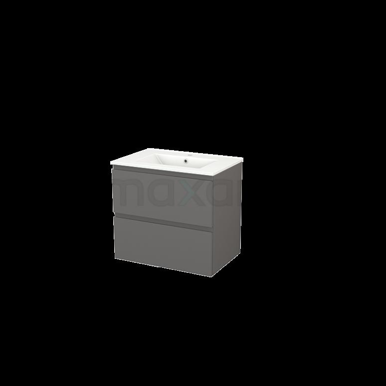 Badkamermeubel 70cm Modulo+ Basalt 2 Lades Greeploos Wastafel Keramiek