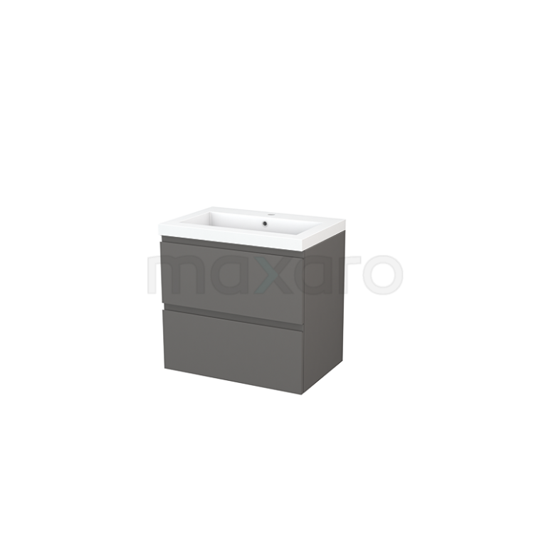 Badkamermeubel 70cm Modulo+ Basalt 2 Lades Greeploos Wastafel Mineraalmarmer