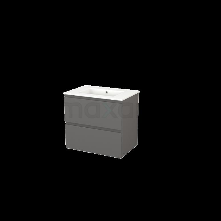 Maxaro Modulo+ BMP002589 Badkamermeubel 70cm Modulo+ Basalt 2 Lades Greeploos Wastafel Keramiek