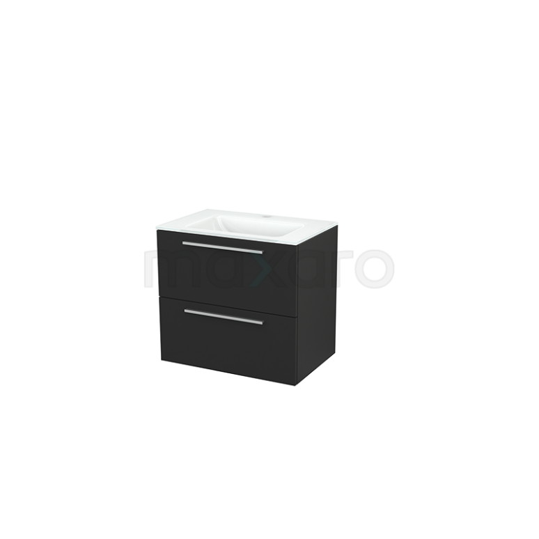 Badkamermeubel 70cm Modulo+ Carbon 2 Lades Vlak Wastafel Glas