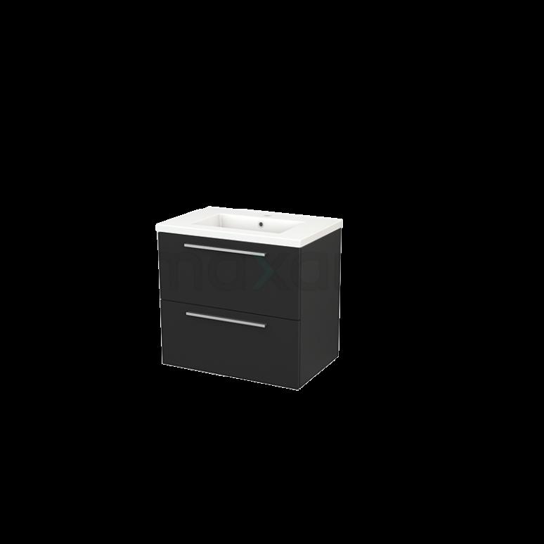 Badkamermeubel 70cm Modulo+ Carbon 2 Lades Vlak Wastafel Keramiek