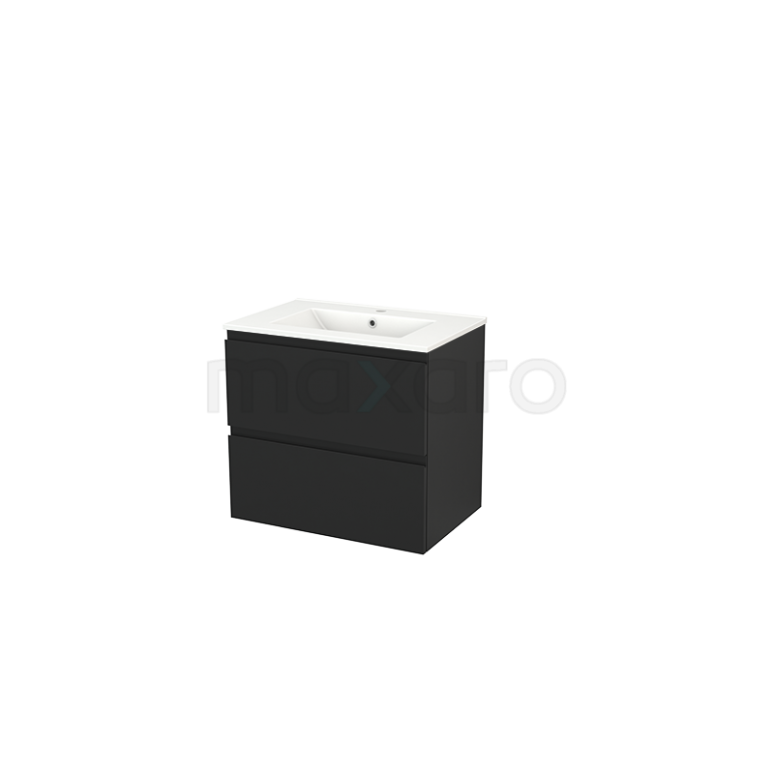 Maxaro Modulo+ BMP002617 Badkamermeubel 70cm Modulo+ Carbon 2 Lades Greeploos Wastafel Keramiek