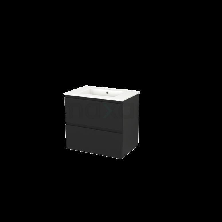 Badkamermeubel 70cm Modulo+ Carbon 2 Lades Greeploos Wastafel Keramiek