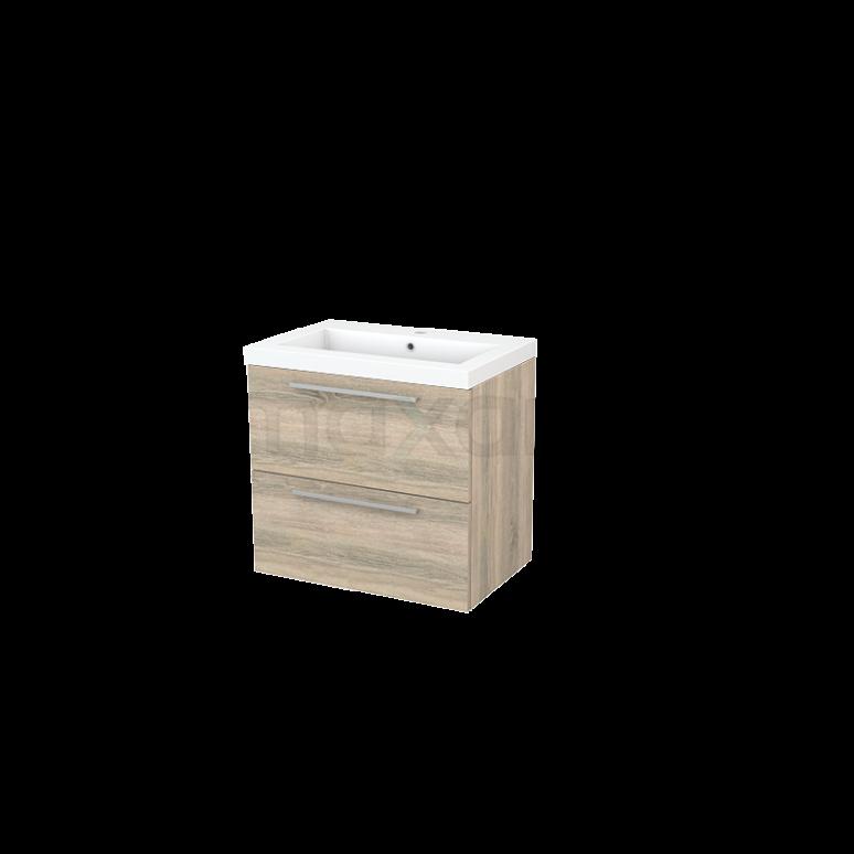 Badkamermeubel 70cm Modulo+ Eiken 2 Lades Vlak Wastafel Mineraalmarmer