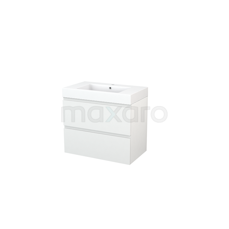 Maxaro Modulo+ BMP002708 Badkamermeubel 80cm Modulo+ Hoogglans Wit 2 Lades Greeploos Mineraalmarmer