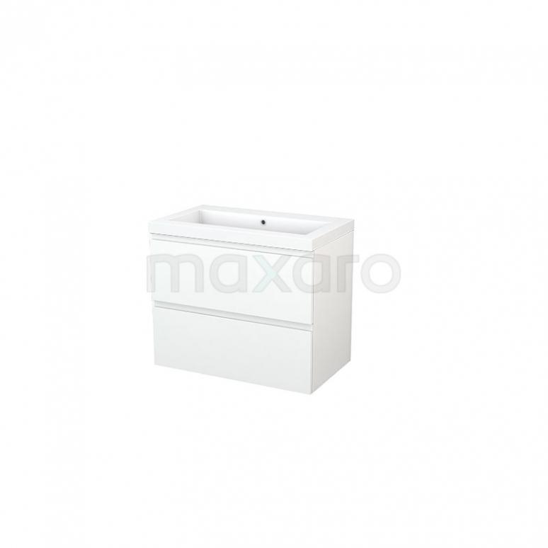 Maxaro Modulo+ BMP002744 Badkamermeubel 80cm Modulo+ Mat Wit 2 Lades Greeploos Wastafel Mineraalmarmer