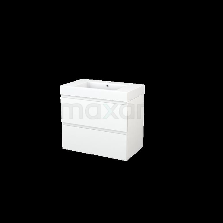 Maxaro Modulo+ BMP002748 Badkamermeubel 80cm Modulo+ Mat Wit 2 Lades Greeploos Mineraalmarmer