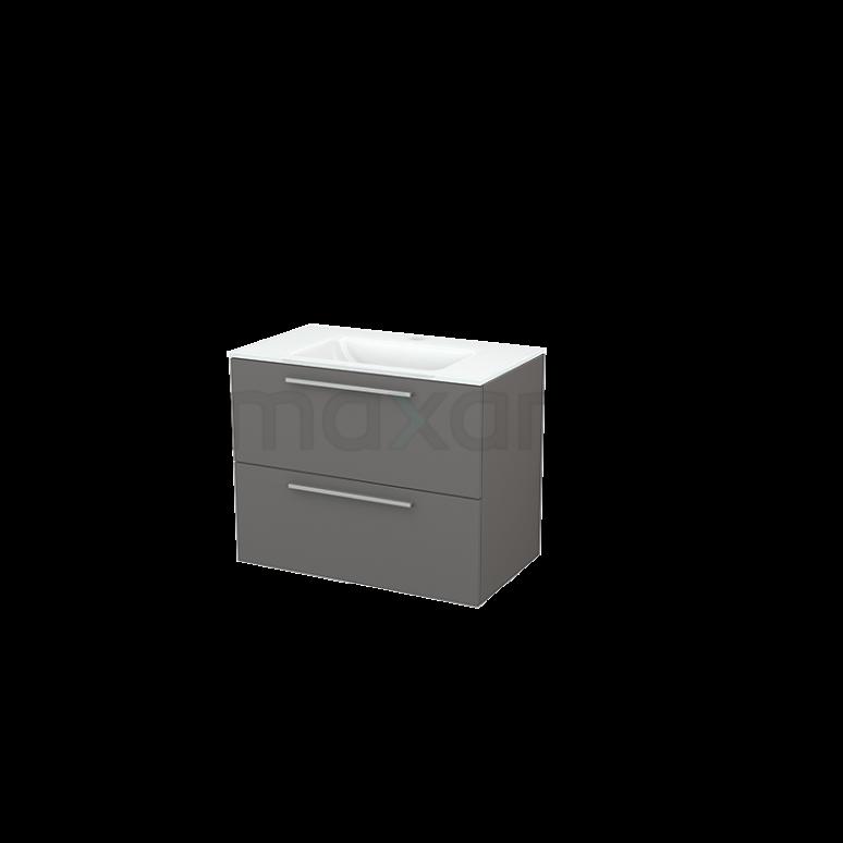 Badkamermeubel 80cm Modulo+ Basalt 2 Lades Vlak Wastafel Glas