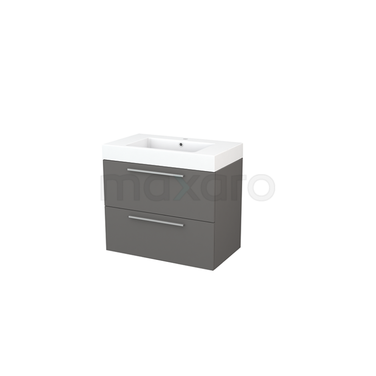 Badkamermeubel 80cm Modulo+ Basalt 2 Lades Vlak Wastafel Mineraalmarmer