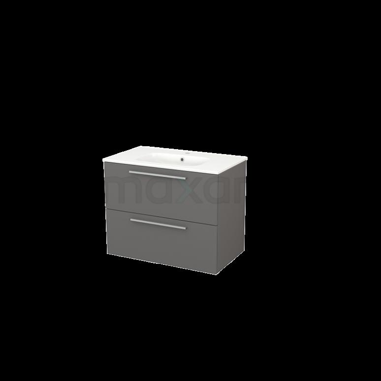 Badkamermeubel 80cm Modulo+ Basalt 2 Lades Vlak Wastafel Keramiek